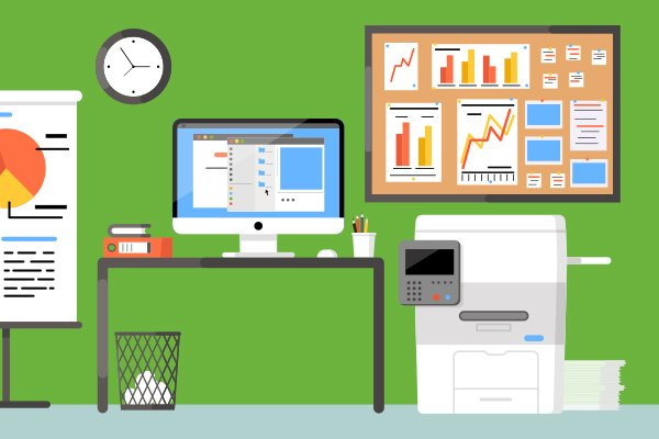 Illustrated image of school copier next to desk with computer and waste basket