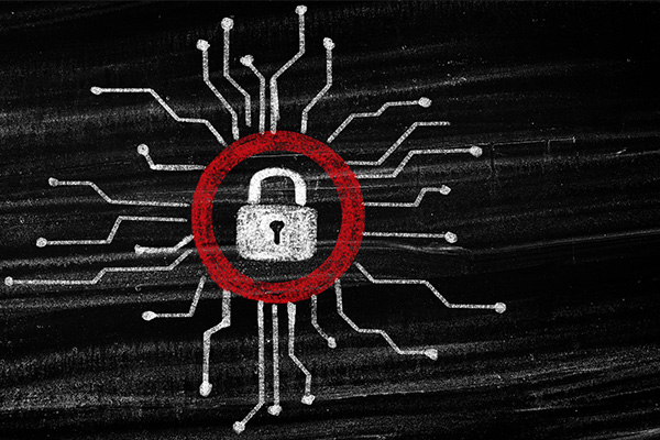 Cybersecurity Concept on School Chalkboard; Network Security Concept for Education